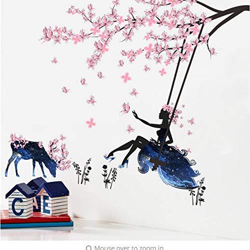 Romantische Blume Fee Schaukel Wandaufkleber Für Kinderzimmer Wanddekor Schlafzimmer Wohnzimmer Kinder Mädchen Abziehbild Poster