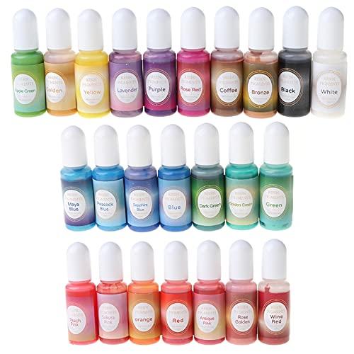 YUSHU Kit de pigmentos de resina nacarada de 24 colores líquidos, brillo perla, resina, colorante colorante para pintura artística