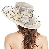 Bellady Women Floral Wide Brim Tea Party Wedding Hats Church Derby Kentucky Dress Cap,Beige