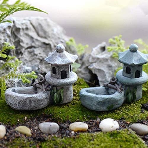 Rainandsnow Retro Miniaturlandschaft Gartenteich Dekoration Landschaftsgarten Torre Harz Bonsai Miniatur-Figuren realistisch Gras DIY