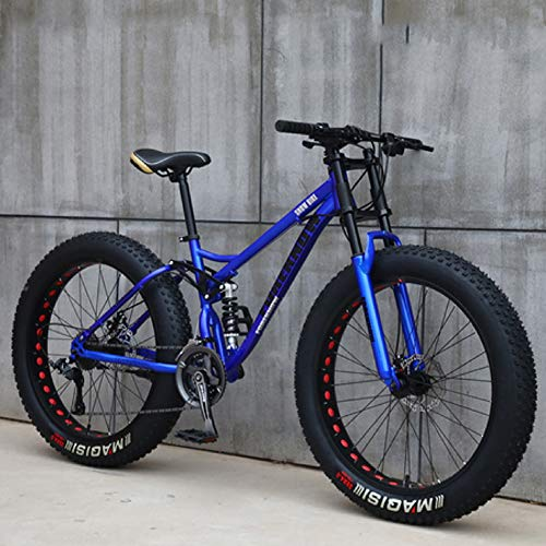 XHJZ Mountain Bike, 24' 26 Pollici Fat Tire Hardtail Mountain Bike, Sospensione Doppia Telaio e sospensioni Forcella all Terrain Mountain Bike,Blu,26 inch 27 Speed