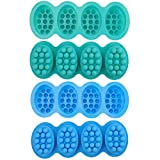Hedume 4 Pack Silicone Massage Bar Soap Molds, SJ 4 Cavity Silicone Massage Molds, Nonstick & BPA Free, Handmade Soap Molds for Soaps Making