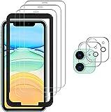 aoyate per iphone 11 vetro temperato (3 pezzi)+proteggi lenti per fotocamera (2 pezzi) [durezza 9h] [nessuna bolla] alta trasparente protezione schermo adatto per iphone 11(6.1 pollice)
