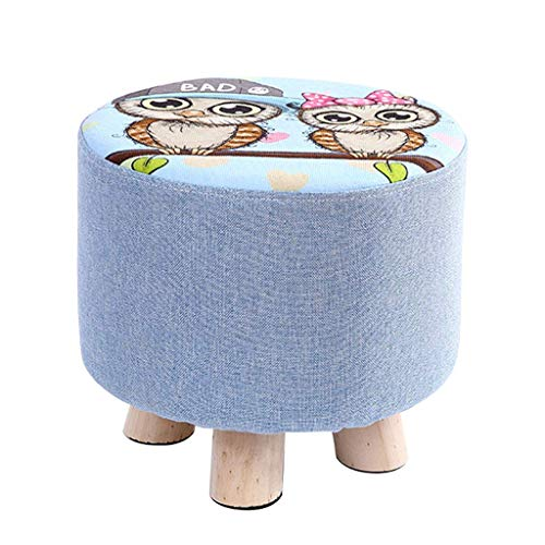 YLCJ voetenbank, voetenbank, gewatteerd, rond, eenvoudige stoel, moderne kruk van grenenhout, 4 poten, afneembare overtrek van linnen, afmetingen: 25 x 28 cm 25 * 28cm