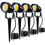SUNVIE 12W LED Landscape Lighting Low Voltage (AC/DC 12V) Waterproof Garden Pathway Lights Super Warm White (900LM) Walls Trees Flags Outdoor Spotlights with Spike Stand (4 Pack)