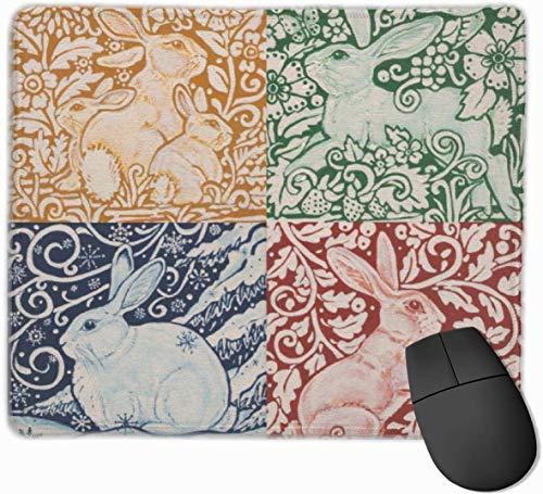Mauspad/Mauspad mit Kaninchen, Art Deco Dedham Accent, rutschfeste Gummi-Unterseite, für Computer/PC Tastatur und Schreibtisch, 24,8 x 29,5 cm