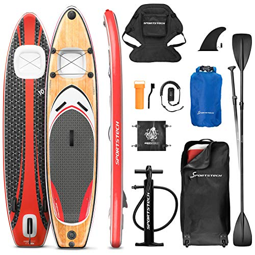 Messe-Neuheit 2020! Premium WBX SUP-Board mit 2in1 Sichtfenster | Action-Cam Ready +9in1 Set | Deutsches Qualitätsunternehmen | Aufblasbares Stand Up Paddel Board |Wassersport Kajak Sitz | Surfbrett