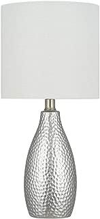 Ravenna Home Textured Ceramic Base Table Lamp with LED Light Bulb, 18