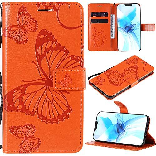 Capa carteira XYX para Motorola Moto G9 Plus, Motorola G9 Plus Borboleta Capa de couro PU carteira flip capa suporte com compartimentos para cartão e alça de pulso - Laranja