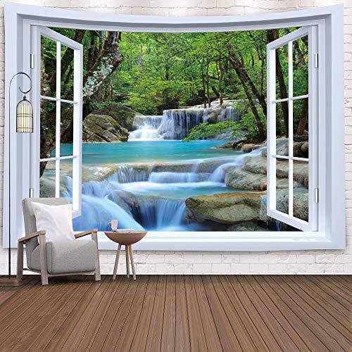 Tapiz de ventana Vista Plantas verdes Flor de mar 3D Manta colgante de pared Colcha Toalla de yoga Decoración de pared de playa Tapiz A6 130x150cm