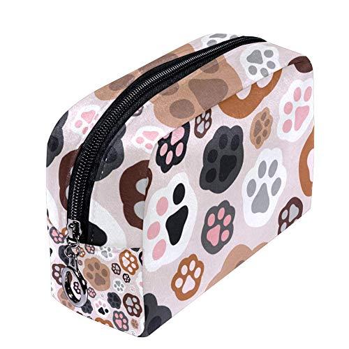ANINILY Trousse à maquillage colorée avec motif pattes de chat pour femme, petite trousse de maquillage, trousse de voyage, trousse de toilette étanche multifonction portable
