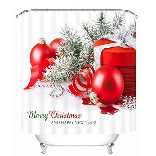 Aartoil Duschvorhänge Weihnachten, Duschvorhang Anti-Bakteriell, Anti-Schimmel, Polyester Weihnachtsglocken Geschenkbox Stoff Duschvorhang für Badezimmer mit Haken Rot Weiß, Dick 200 x 180 cm