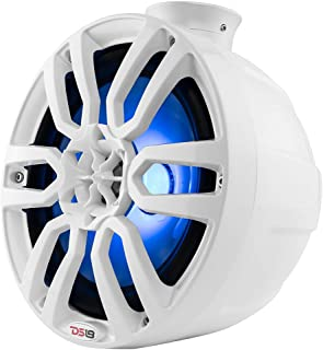 DS18 NXLPS8W White Tower Pod Speaker - 8-Inch,  2-Way,  375W Max,  125W RMS,  1 Titanium Dome Tweeter,  100% UV Stable,  IP65 Marine Grade Specs,  4 Ohms,  Integrated RGB LED Lighting (2 Speakers)