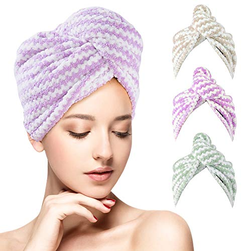 Hair Towel Wrap Turban Microfiber - Domumdo Hair Drying Towel Bath Shower Cap Head Towels With Button, Absorbent & Soft Hair Dry Cap For Women Girls Kids,3 Pack 10 x 25.5 inches