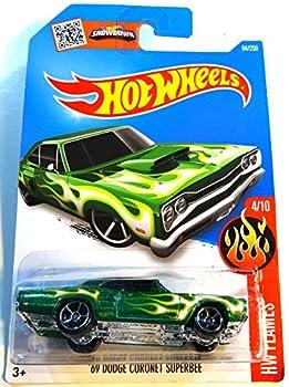 Hot Wheels 2016 HW Flames  69 Dodge Coronet Superbee [Green] Die-Cast Vehicle #94/250