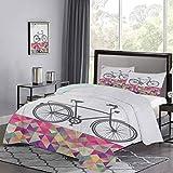 UNOSEKS LANZON - Juego de funda de edredón estilo vintage para bicicleta sobre multicolor con forma de diamante y triángulos, estilo moderno, suave, cómodo y duradero, multicolor, tamaño doble