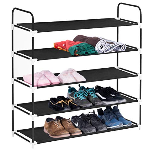 MaidMAX 5 Tiers Free Standing Shoe Rack for 25 Pairs of Shoes Organizer in Closet Entryway Hallway,...