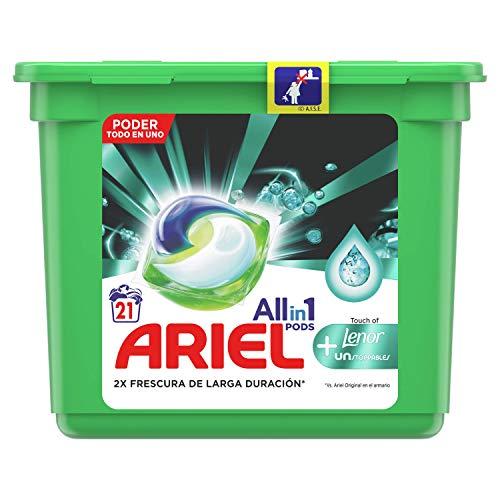 Ariel Todo En Uno Pods Con Lenor Unstoppables Detergente En Cápsulas 21Pods, 21Lavados, Perfecto Para Lavar A Baja Temperatura, Perfume Duradero
