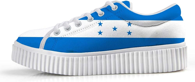 Owaheson Platform Lace up Sneaker Casual Chunky Walking shoes Low Top Women Honduras Flag