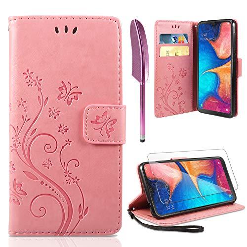 ivencase Lederhülle Kompatibel mit Samsung Galaxy A20e Flip Hülle & Schutzfolie, Wallet Hülle Handyhülle PU Leder Tasche Hülle Kartensteckplätzen Schutzhülle Kompatibel mit Samsung Galaxy A20e Rosa