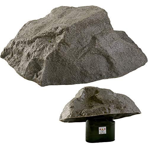 GARTENDEK Findlinge Stein Attrappe für Garten - Gartenfelsen Hohl Gartendeko Kuntstein - Groß Steinabdeckung für Sandfilterlange, Transformator usw. - Ø 80cm M-02 (Grau)