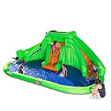 Blast Zone Crocodile Isle - Inflatable Water Park with Blower Large - Dual Curved Slides - Splash Area - Climbing Wall
