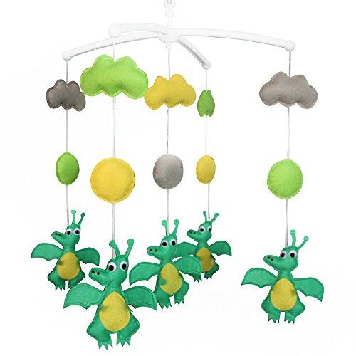 Jouets éducatifs Décor de chambre d'enfant Design cousu à la main décoration de lit de bébé cadeau mobile pour nouveau-né Mobile musical pour 0-1 ans (dinosaure créatif)