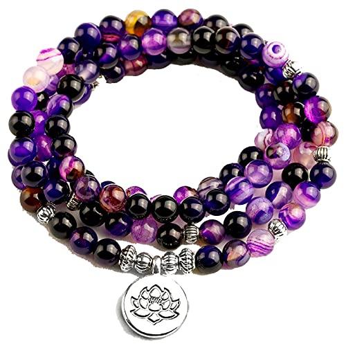 Pulsera de mujer con cuentas de línea púrpura brillante con Lotus OM Buddha Charm Yoga pulsera 108 Mala 6MM collar de cuentas para hombres