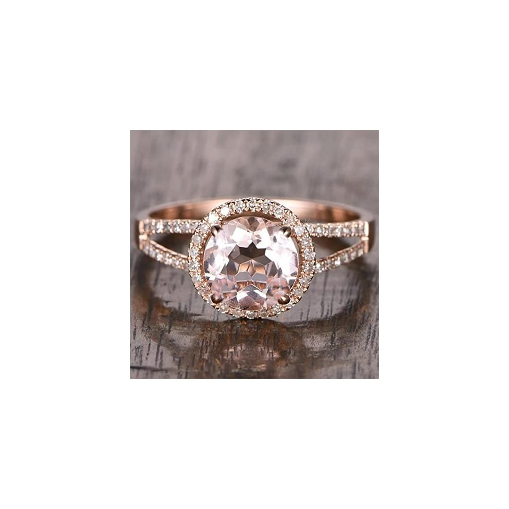 1.25 Carat Antique Design Split Shank Halo Morganite and Diamond Engagement Ring In Rose Gold
