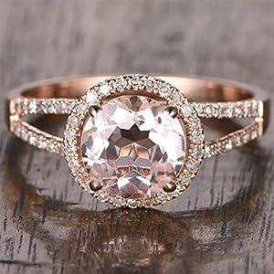 1.25 Carat Antique Design Split Shank Halo Morganite and Diamond Engagement Ring In Rose Gold