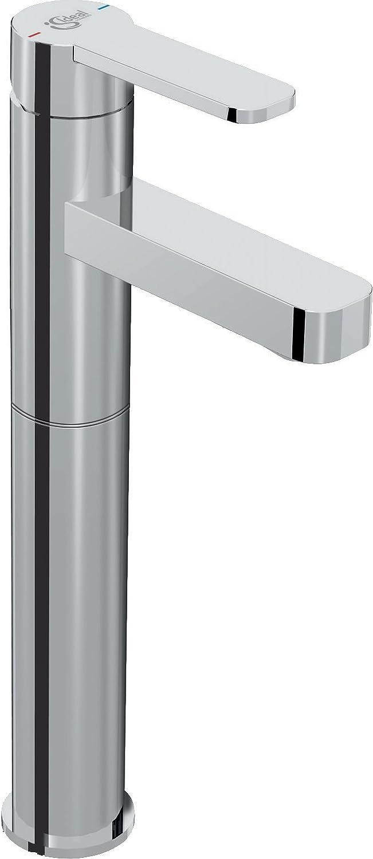 Ideal Standard B0601AA Waschtisch-Armatur GIO, 5 l min, ohne Ablaufgarnitur, mit verlgertem Sockel, Ausladung 160mm, Chrom