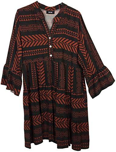 K-Milano Damen Tunika lang V Ausschnitt Knopfleiste 3/4 Arm Tunikakleid Blusenkleid sommerleicht Ethno Print Boho Look, Made IN Italy