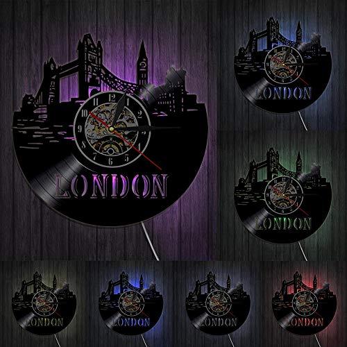 Reloj de pared de pared con diseño de paisaje urbano de Londres, Inglaterra, Reino Unido, Gran Ben, con luces LED