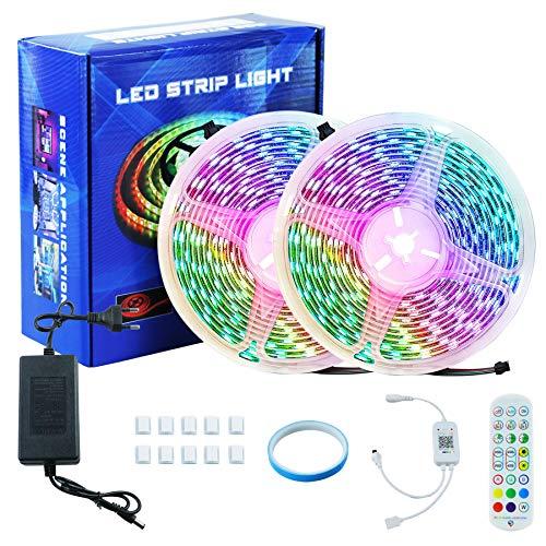 Eulifeled Led Strip 10M ,Bluetooth Led Streifen Steuerbar via app,Farbwechsel Led Band mit Musikerkennung,für die Beleuchtung von Haus, Party, Küche,TV(2 X 5m)