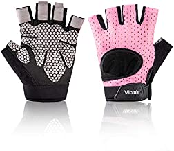 Viomir Ultralight Workout Gloves for Women Men, Padded Weight Lifting Gloves with Wrist Support, Anti-Slip Training Gloves for Powerlifting, Gym, Crossfit, Pull ups (1 Pair)