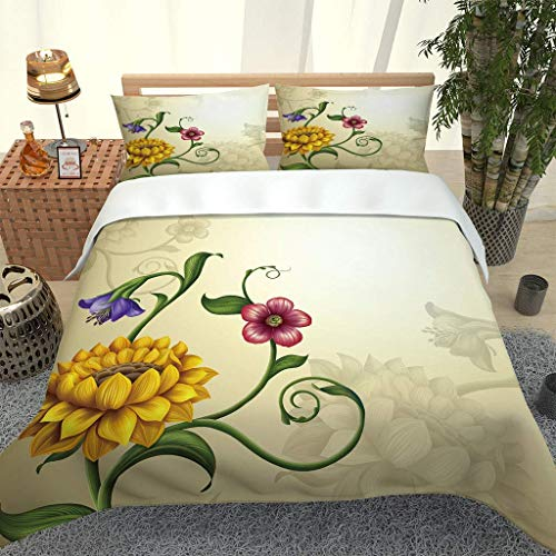 788 DRIVICO Duvet Cover Set. Easy Care And Super Soft Microfiber Design. Creative Plant Flowers Printed Patterned.Zipper Closure.Anti-Allergic.Bedding Set-Size:200X200 Cm + 2 Matching Pillowcase