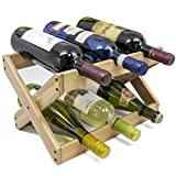 Sorbus Bamboo Foldable Countertop Wine Rack 6-Bottles (White)