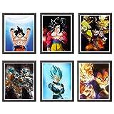 Demon Slayer Tanjirou Nezuko Giyuu - Stampe artistiche originali per decorazione da parete, 8 x 10 cm, set da 6, senza cornice Super Saiyan Ssj Gonku Vegeta Ultra Dragon Ball