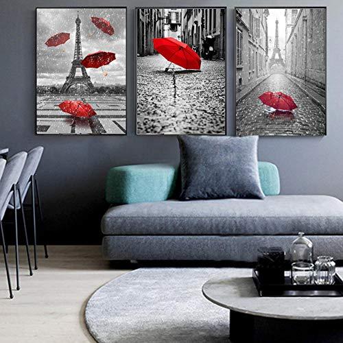 hpkcine Red Umbrella London Paris Landschaft Nordic Poster Und Drucke Wandkunst Leinwand Malerei Wandbilder Für Wohnzimmer Rahmenlose