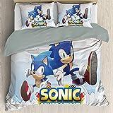Anime Bedding Juego de sábanas de 3 piezas para cama tamaño Queen, Sonic suave microfibra con cuatro correas de esquina (EU Super King 260 cm x 220 cm)