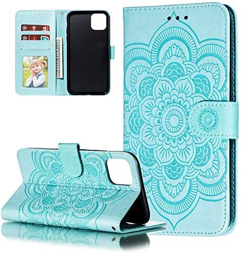 LEMAXELERS Huawei P40 Pro Hülle,Für Huawei P40 Pro Handyhülle Prägung Mandala-Blume Flip Case PU Leder Cover Magnet Schutzhülle Tasche Skin Ständer Handytasche für Huawei P40 Pro,LD Mandala Green