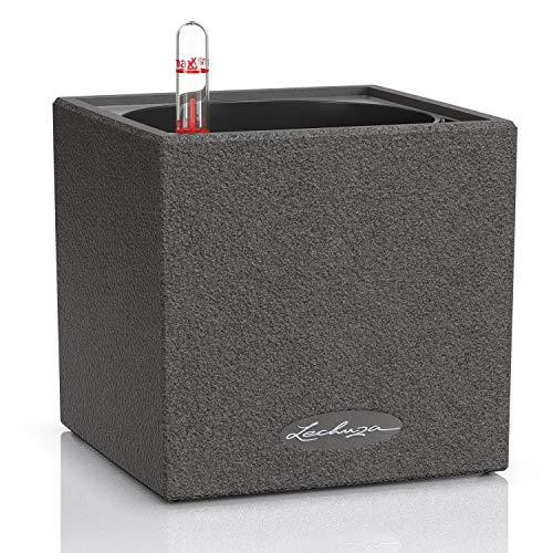LECHUZA CANTO Stone 14 hochwertiger Kräuterwürfel mit Stick-Bewässerungssystem, graphitschwarz