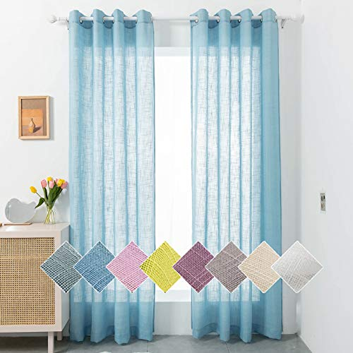 """Liiopoz Baby Blue Linen Sheer Curtains 96 Inch Long Semi Sheer Curtains for Living Room, Grommet Window Treatment Curtains for Bedroom (52"""" W x 96"""" L, 2 Panels)"""
