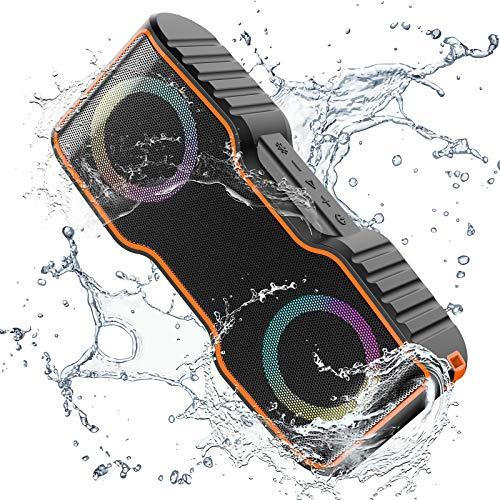 VaKo Eyes Portátil Altavoz Bluetooth 5.0 de 20W Altavoz de Audio inalámbrico con función de luz LED, IPX7 Impermeable, Diseño a Prueba de Agua para la Piscina y la Playa - Negro