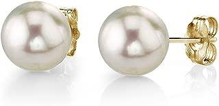 14K Gold Round White Akoya Cultured Pearl Stud Earrings for Women