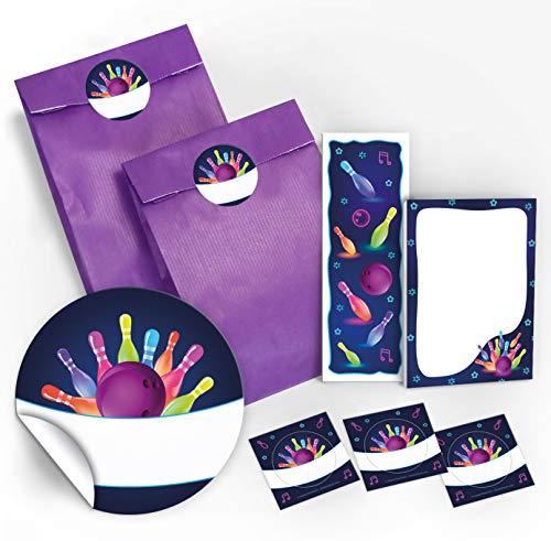 12 Geschenktüten / lila + 12 Aufkleber + 12 Lesezeichen + 12 Mini-Notizblöcke Bowling neon / Mitgebsel Gastgeschenk für Kinder Jungen Mädchen beim Kindergeburtstag Geburtstag