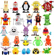 FUNNISM 24 Pieces Assorted Wind-up Toys for Kids Party Favors Children's Birthdays Gifts, Goodie Bags, Prizes