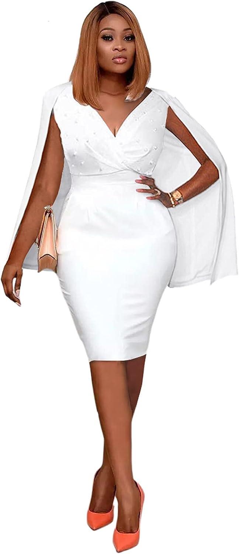 Salimdy Women Sexy Beading Pearl Deep V Neck Cloak Sleeve Elegant Evening Cocktail Bodycon Midi Sheath Dress