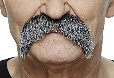 Mustaches Self Adhesive Fake Mustache, Novelty, Walrus False Facial Hair, Costume Accessory for Adults, Costume Accessory for Adults, Salt and Pepper Color