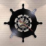 Regalos para Hombres Capitán Barco Rueda Arte de la Pared Dirección del Barco Sala de Estar Decoración de la Pared Disco de Vinilo Reloj de Pared Viaje Mar Vela Marineros Marineros Regalo